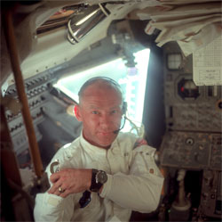 Buzz Aldrin wearing an Omega Speedmaster stopwatch aboard the Apollo 11 mission.
